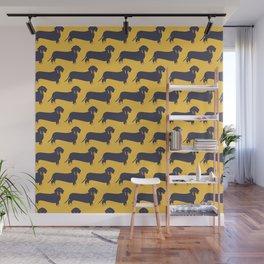 Trendy Dachshund Illustration Pattern Wall Mural