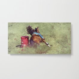 The Barrel Racer - Rodeo Horse and Rider Metal Print