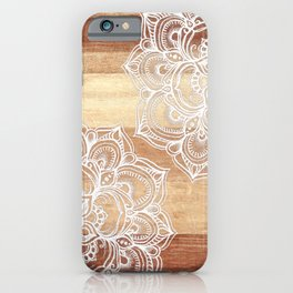 White doodles on blonde wood - neutral / nude colors iPhone Case