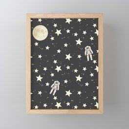 Space - Stars Moon and Astronauts on black Framed Mini Art Print