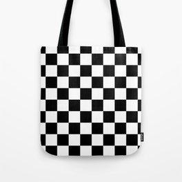 Black & White Checker Checkerboard Checkers Tote Bag