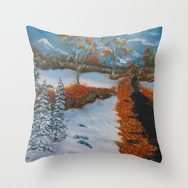 Early fall snow Throw Pillow