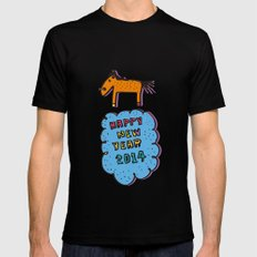 happy new year MEDIUM Black Mens Fitted Tee