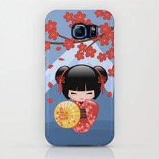 Japanese Red Sakura Kokeshi Doll on Blue Slim Case Galaxy S7