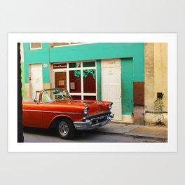 Orange Car in Havana Art Print