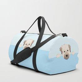 peeking pup. Duffle Bag