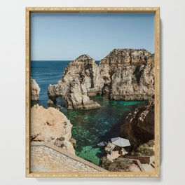 Dreamy cliffs and turquoise sea water, Algarve - Sea Beach Print Serving Tray