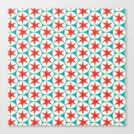 Retro Red Stars Pattern Canvas Print