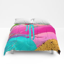 Abstract Acrylic brushstrokes and sequins Comforters