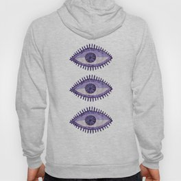 Embroidered Evil Eyes - Purple Hoody