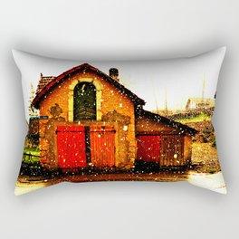 little house and snow Rectangular Pillow