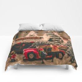 Tiny Christmas Town (Color) Comforters