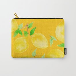 Lemons on Mustard Yellow Carry-All Pouch