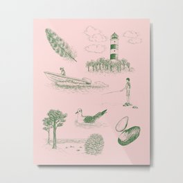 Seaside Town Toile Pattern (Pink and Green) Metal Print