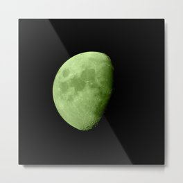 4K Dark Side of the Moon Lime Green Metal Print