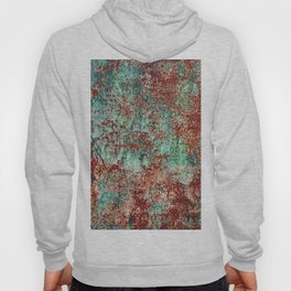 Abstract Rust on Turquoise Painting Hoody