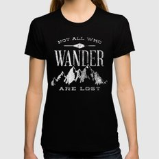 Not All who Wander are Lost MEDIUM Womens Fitted Tee Black