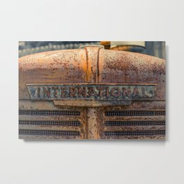 Rust Red International Bonnet Front Nameplate Rusty Tractor Metal Print