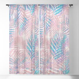 Palm Leaves - Iridescent Pastel Sheer Curtain