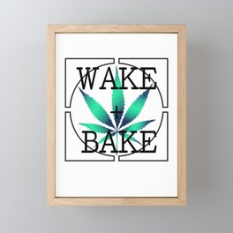 WAKE AND BAKE, TEAL AQUA Cannabis Weed Smoke Marijuana Typography Framed Mini Art Print