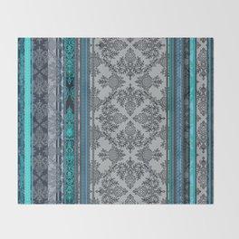 Teal, Aqua & Grey Vintage Bohemian Wallpaper Stripes Throw Blanket