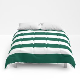 Castleton green - solid color - white stripes pattern Comforters