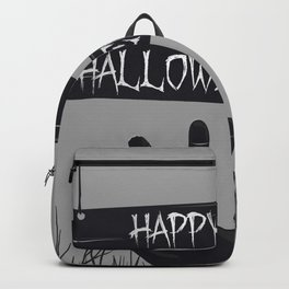 Happy Halloween With Grave Scary Hand And Creepy Branches Of Trees Backpack