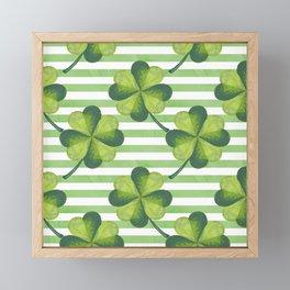 Four Leaves Clover St. Patrick's Day Pattern Framed Mini Art Print
