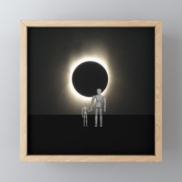 Wooden Anatomy Father Doll and Child before Total Solar Eclipse Framed Mini Art Print