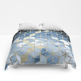 Shades Of Blue Cubes Pattern Comforters