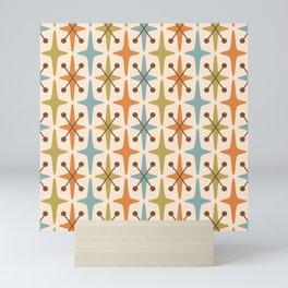 Mid Century Modern Abstract Star Pattern 441 Orange Brown Blue Olive Green Mini Art Print