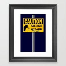 Caution: Falling Wizard Framed Art Print