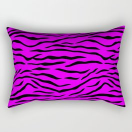 Hot Pink Neon and Black Tiger Stripes Rectangular Pillow