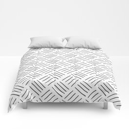 Gray and White Cross Hatch Design Pattern Comforters