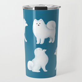 Samoyed Pattern (Blue Background) Travel Mug
