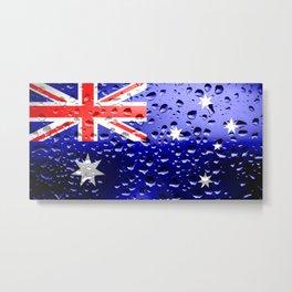 Flag of Austraila - Raindrops Metal Print