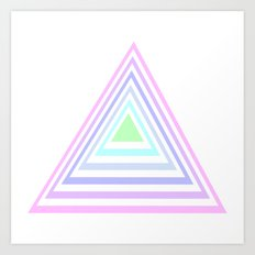 pastel rainbow triangles Art Print
