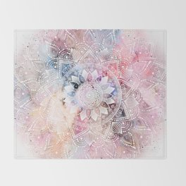 Whimsical white watercolor mandala design Throw Blanket