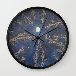 Moon Through The Trees Wall Clock