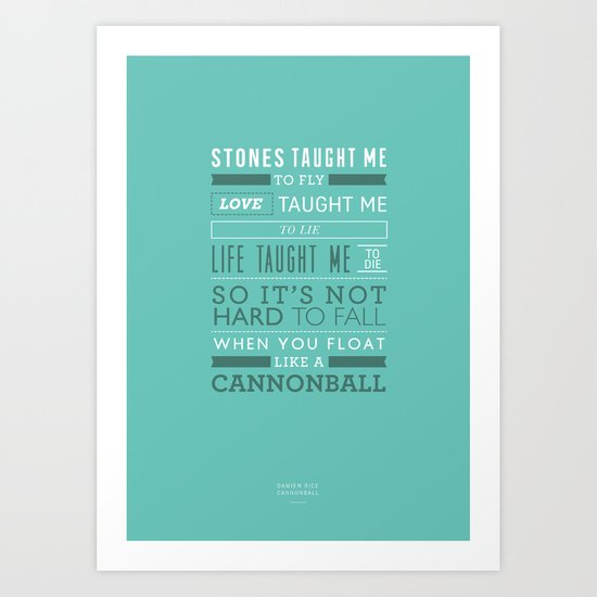 Lyrical Type - Cannonball Art Print