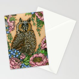 Owl, Peonies and Forget-Me-Nots Stationery Cards