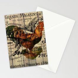 vintage typography barn wood shabby french country poulet chicken rooster Stationery Cards
