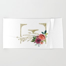 Gold Foil Monogram Letter E with watercolor flowers Beach Towel