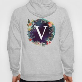 Personalized Monogram Initial Letter V Floral Wreath Artwork Hoody