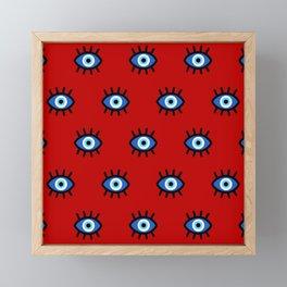 Evil Eye on Red Framed Mini Art Print