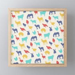 Best animal silhouette pattern design Framed Mini Art Print