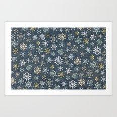 night time snow  Art Print