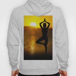 Yoga Female by the Ocean at Sunset Hoody