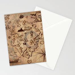 Pirate Map Stationery Cards