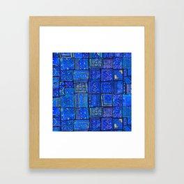 V2 Calm Blue Traditional Moroccan Cloth Texture. Framed Art Print